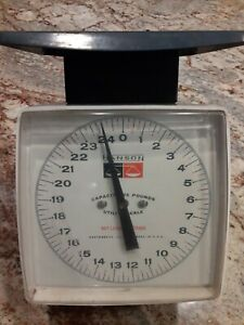 Vintage Hanson Utility Scale 25 Pounds Metal Top, Accurate, Shabby Farmhouse USA