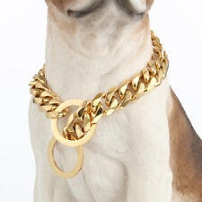 Strong Gold Dog Collar Stainless Steel Curb Chain for Pitbull Bulldog Mastiff