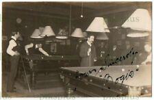More details for old postcard billiards / snooker hall signed real photo vintage c.1910