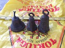 3 Vintage Brass Bells Antique Etching Work Decorative Antique
