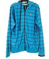 BillaBong Lightweight Hoodie Jacket Blue Striped Full Front Zipper Men's Large