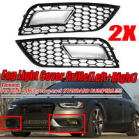 Left + Right Front Bumper Fog Light Grille Cover For Audi A4 B8.5 2013-2016 **