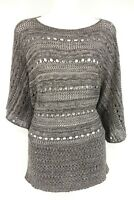 TWO ONE TWO Sweater Blouse Women's L Gray Knit Short Sleeve Shirt