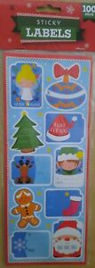 100 X Kids Christmas Gift Tag Sticky Labels fairy tree gingerbread man santa etc