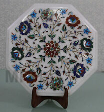 12'' Corner Table Top Floral Design Pietra Dura Handmade Semiprecious Stones Art
