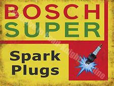 Vintage Garage Bosch Super Spark Plugs 118, Car Servicing, Medium Metal/Tin Sign