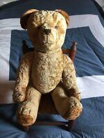 Jouet ancien Ours peluche old teddy bear  année 1950/1960 TBE fonctionne 64 cm