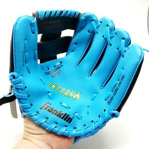 """FranklinT-Ball Glove 24950-9"""" All Leather 9"""" Inferno Series Blue Black - EUC"""