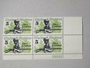SCOTT # 1330 DAVY CROCKETT STAMP - 5 CENT PLATE BLOCK - MNH