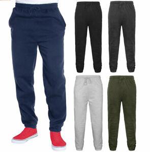 Mens Plain Fleece Pockets Jogging Bottoms Pants Elasticated Hem Cuffed Joggers