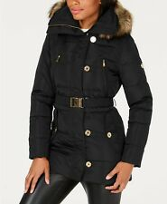 NWT MICHAEL Women's Michael Kors Faux-Fur-Trim Belted Puffer Coat Black  Medium