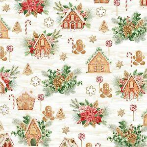 "Gingerbread Lane ""Natural Gold""-Hoffman Fabrics-BTY"