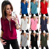 UK Womens Base Long Sleeve Zipper Pullover Ladies Blouse Chiffon Tee Shirt Tops