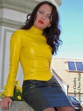 Ledertop cuero top amarillo Zipper manga larga, hecha a medida