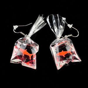 Fashion goldfish in plastic bag Ear Drop Earrings Tassel Lovely Goldfish Earring