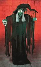 1.8m Animated Light Up Standing Horror Witch and Skull Halloween Prop with Sound