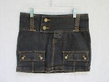 Thalia Sodi Denim Skirt Mini Size 9/10 Black Jean Orange Stitching No Back Slit