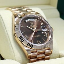 Rolex President 40mm Day-Date 228235 18K Rose Gold Chocolate Dial Watch 2017 NEW