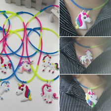 Rubber Rainbow Unicorn Pendant Bid Choker Necklace Kids Birthday Toy Party Favor