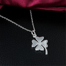 Four Leaf Clover Pendant Necklace Plated Jewelry Sterling Women Silver Gift