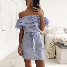 Womens Off Shoulder Summer Beach Mini Dresses Ladies Party Casual Short Dress