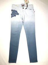 HOT KISS Juniors Womens sz 3 Skinny Lily Blue Ombre Skinny Jeans Floral Lace NWT