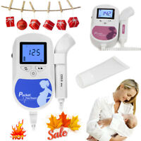 Fetal Heart Doppler Prenatal Baby Sound Monitor 3M probe with Gel, Backlight LCD