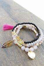 Women's Fashion Jewelry Muti Stretch Tassel Charm Leaf Bracelets Bangles Layer