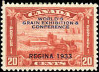Mint Canada 1933 VF Scott #203 20c Grain Exhibition Stamp Hinged