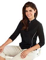Tri-Mountain Women's Polyester Quarter Sleeves Half Zip Winter Sweatshirt. 403