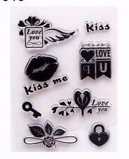 Kiss Cerradura de Llave Flor claro Sellos de goma sello de silicona sello chatarra de reserva Tarjetas