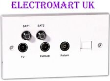 QUADPLEXED SATELLITE TV FM DAB AERIAL BT WALL SOCKET