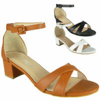 Ladies Peeptoe Summer Comfy Sandals Heels Womens Wedding Bridal Party Shoes Size