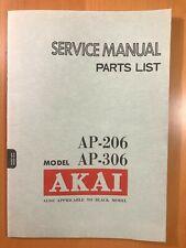 ORIGINAL SERVICE MANUAL & SCHEMATIC AKAI AP-206 & AP-306 TURNTABLE D310