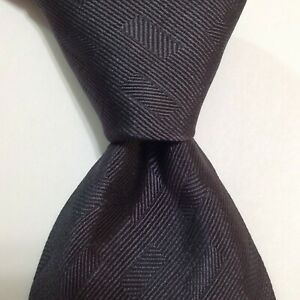 EMPORIO ARMANI Men's 100% Silk Necktie ITALY Designer SOLID Geometric Gray EUC