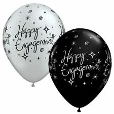 Engagement Party Balloons x 25 Decorations Happy Helium Black Silver
