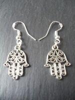 Hamsa Hand of Fatima Earrings 925 Sterling Silver Hooks Tribal Good Luck Charm