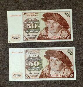 2*50 DM Deutsche Mark Schein Banknote von 1980 - Serie KL ….  Fünfzig Mark