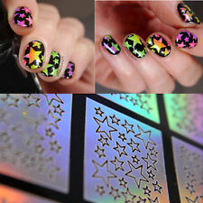 9 Tips/Sheet Holographic Star Nail Vinyls Nail Art Stencils Holo Nail Sticker