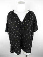 Old Navy Women's sz 2XL Black Rayon Printed Ruched Split Neck Blouse Top