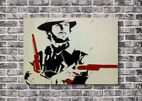 Clint Eastwood Cowboy Oil Painting Hand-Painted Pop Art Canvas NOT a Print 36x48
