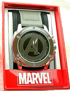 "Marvel Comics Avengers Classic ""A"" Logo Watch Men's New NOS Box Cloth Strap"