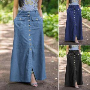 ZANZEA Womens Buttons Casual Loose Skirts A Line Flare Swing Long Maxi Dress