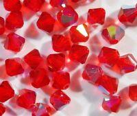 20 ROT AB Böhmische Glasperlen 6mm Tschechische Kristall Perlen Rhomben BEST X81