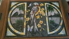 Antique Butterfly Wing Mahogany Tray Rio With Parrot & Flowers