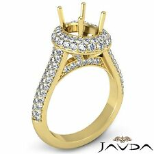 Oval Semi Mount 1.5Ct2 Row Halo Pave Diamond Engagement Ring 18k Yellow Gold
