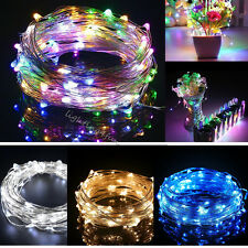 20/40/50LED Bulb Micro Rice Metal Copper Wire String Fairy Lights Outdoor Indoor