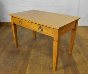 Antique vintage large light oak writing desk