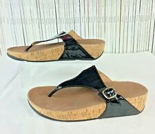 FITFLOPS 8 41 Black Patent Leather The Skinny Thong Sandals Cork Platform Sole