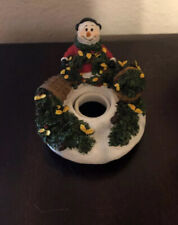 Yankee Candle Capper Topper Snowman Pine Tree Ceramic Christmas Xmas Topper